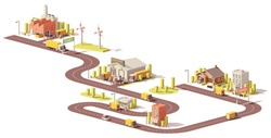 Vector low poly products supply chain from production to customers icon with factory, warehouse, stores and trucks