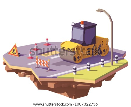 Vector low poly road roller or asphalt compactor with road works signs repairing asphalt potholes on the road surface