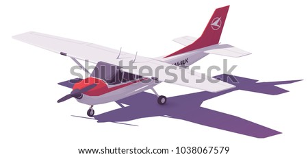 Vector low poly small white propeller airplane
