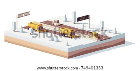 Vector low poly snowplows removing the snow the highway on a snowy winter day