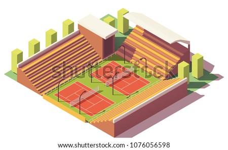 vector low poly tennis stadium