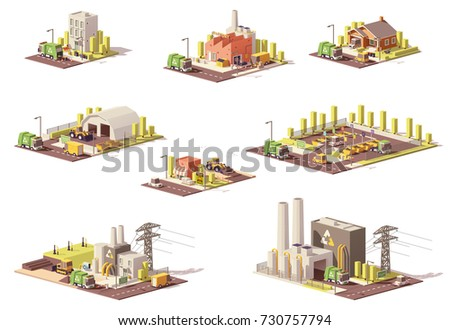Vector low poly waste management infrastructure. Includes garbage collection, separation, landfill gas collection and recycling facilities