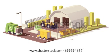 Vector low poly waste transfer station icon with front loader and garbage containers