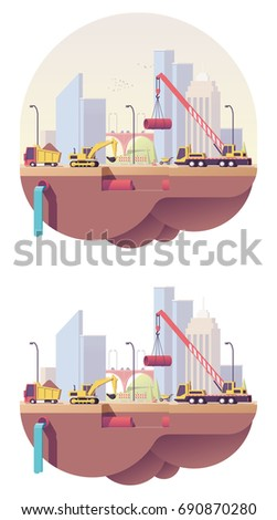 Vector low poly water pipeline construction site