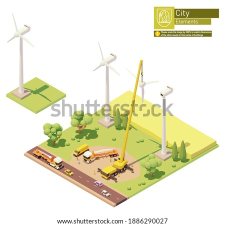 Vector low poly wind turbines farm construction. Onshore wind farm construction. Workers installing rotor blades with crane. Isometric city map elements Foto d'archivio ©