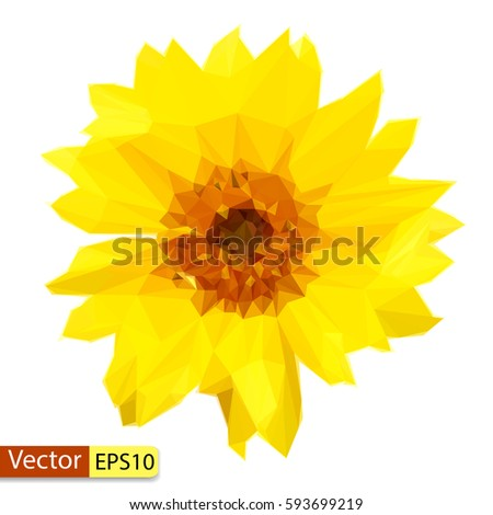 vector low poly yellow flower...