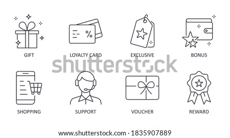 Vector loyalty program icons. Editable stroke symbols. Gift, loyalty card vip exclusive support. Discount shopping stars voucher reward bonus Photo stock ©