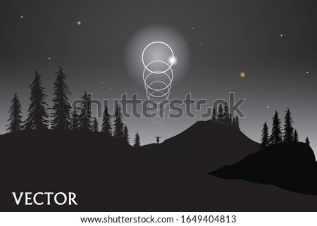 vector lunar eclipse on the