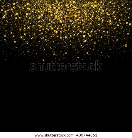 Vector luxury black background with gold sparklers