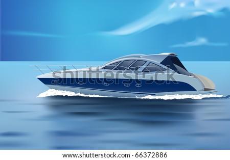 vector luxury boat in motion