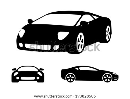 Vector Luxury Car Silhouettes, Frontal Angled And Side ...