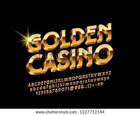 Vector Luxury Emblem Golden Casino. Chic bright 3D Font. Glossy Alphabet Letters, Numbers and Symbols.