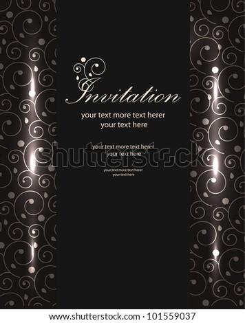 Vector luxury invitation card design. Swirls and glows