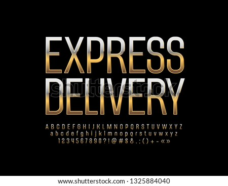 Vector luxury logo Express Delivery with Golden Alphabet Letters, Numbers and Symbol. Chic Font for Business, Marketing, Promotion