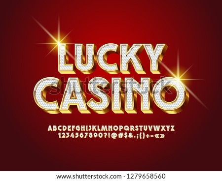 Vector luxury Logo Lucky Casino. Royal Alphabet Letters, Numbers and Symbols. Stylish White and Golden 3D Font.