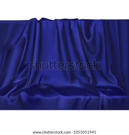 Vector luxury realistic blue silk satin drape textile background. Elegant fabric shiny smooth material with waves.