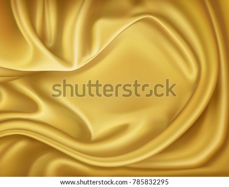 Vector luxury realistic golden silk satin drape textile background. Elegant fabric shiny smooth material with waves. Illustration for celebration, ceremony or event invitation card, symbol of elegance