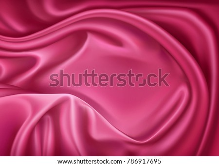 Vector luxury realistic pink silk, satin drape textile background. Elegant fabric shiny smooth material with waves. Illustration for celebration, ceremony or event invitation card, symbol of elegance
