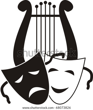 Vector Lyre and masks - symbols of music. arts and theater -  isolated black illustration on white background. - stock vector