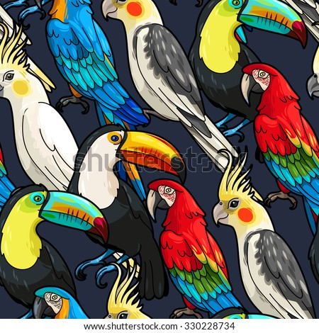 Vector macaw, toucan and cockatoo seamless background