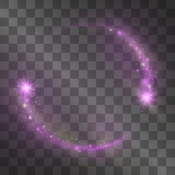 Vector magenta pink light effect, circle frame. Moving comet with glowing tail of shining stardust sparkles, fashion illumination. Glistening magical energy ring flow in motion. Luxurious design.