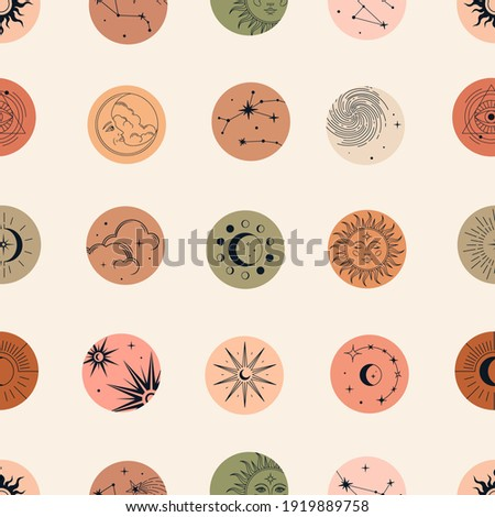 Vector magic seamless pattern with constellations, sun, moon, magic eyes, clouds and stars. Mystical esoteric background for design of fabric, packaging, astrology, phone case, wrapping paper. Stock photo ©