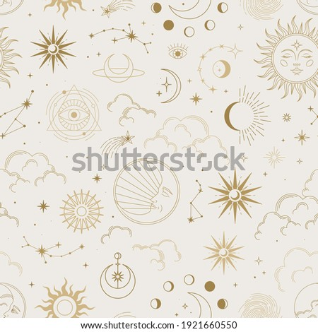 Vector magic seamless pattern with constellations, sun, moon, magic eyes, clouds and stars. Mystical esoteric background for design of fabric, packaging, astrology, phone case, wrapping paper.