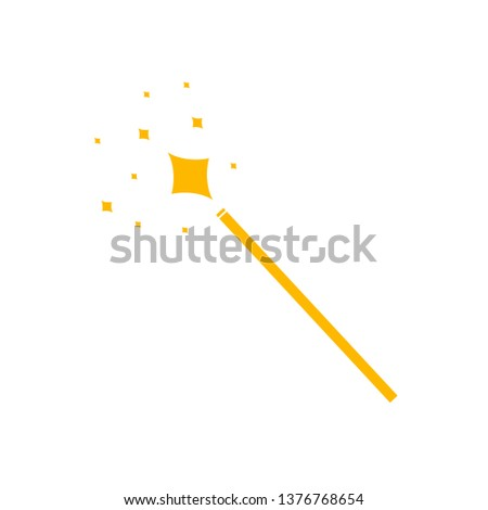 Vector Magic Wand Icon, Yellow Pictogram Isolated on White Background, Magical Shining.