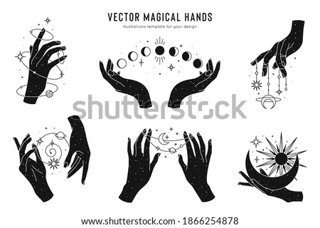 Vector magical hands set of logo template. Linear style, minimal design. Planets, moon phases, sun and stars. Esoteric and mystical design elements.  Foto stock ©