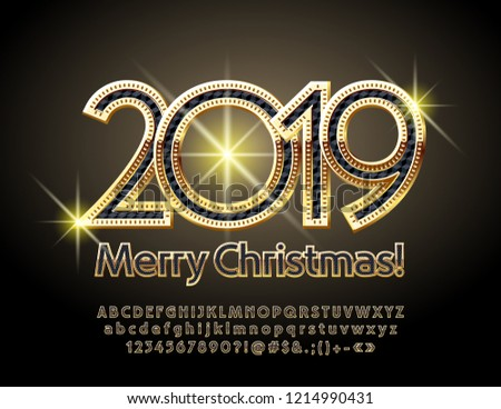 Vector magical Merry Christmas 2019 Greeting Card with Alphabet set of Letters, Symbols and Numbers. Stylish Black and Golden Font. #1214990431