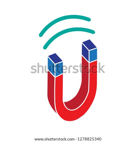vector magnetic icon-physics sign-attraction sign-horseshoe illustration-polarity vector