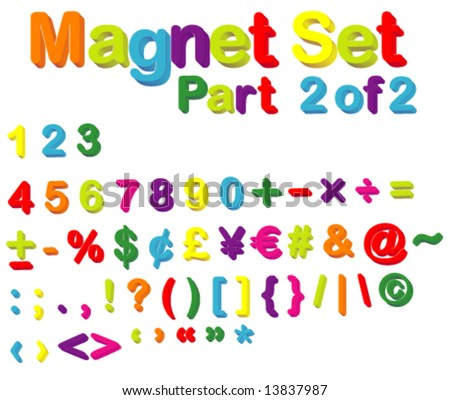 Vector Magnets Set (Part 2 of 2) - Numbers, Maths, Currencies & Punctuation Marks