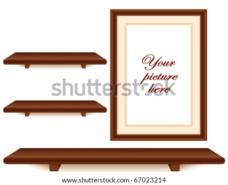 vector - Mahogany Wall Group. Three dark wood shelves, picture frame with mat. Copy space to add your favorite picture, books & treasures. EPS8 organized in groups for easy editing.
