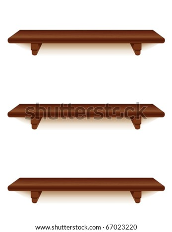 vector - Mahogany Wood Shelves, Vertical.  3 narrow mahogany wood grain shelves with brackets.  Add your favorite books and treasures. EPS8 organized in groups for easy editing.
