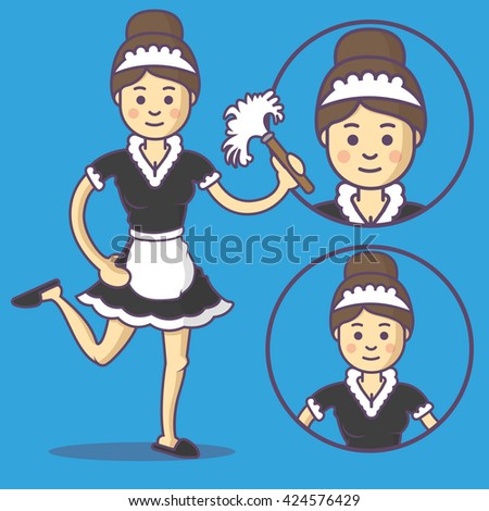vector maid in apron and