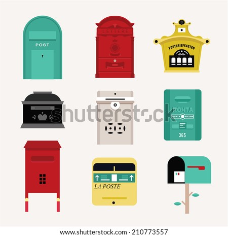 Vector mail boxes cute flat style set