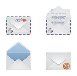 Vector mail envelope and letter icon set