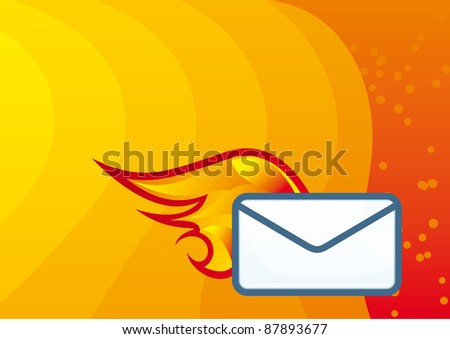 Vector Mail icon with hot fire element and red wave background