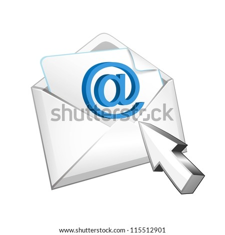 vector mail with cursor - stock vector