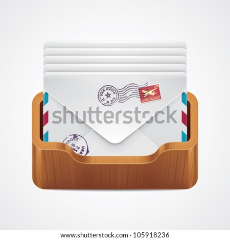 Vector mailbox with mail envelopes icon