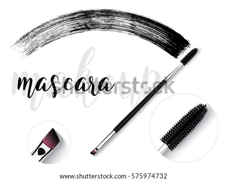 Vector make-up cosmetic mascara brush design concept with brush stroke. Realistic mascara brush on White background with text.