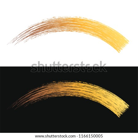 Vector make-up cosmetic mascara brush stroke texture design isolated on white. Realistic mascara golden smear template. Mascara eyelashes brush gold stroke makeup. Golden drawn lash scribble swatch