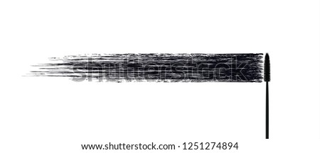 Vector make-up cosmetic mascara brush stroke texture design isolated on white. Realistic mascara smear template. Mascara eyelashes brush stroke makeup. Black hand drawn lash scribble swatch