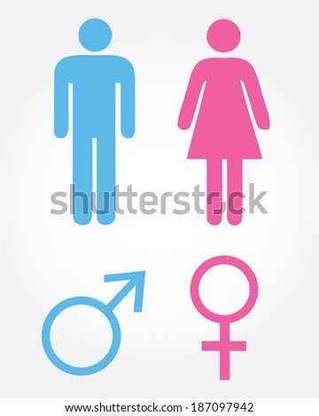 Vector male and female icon set
