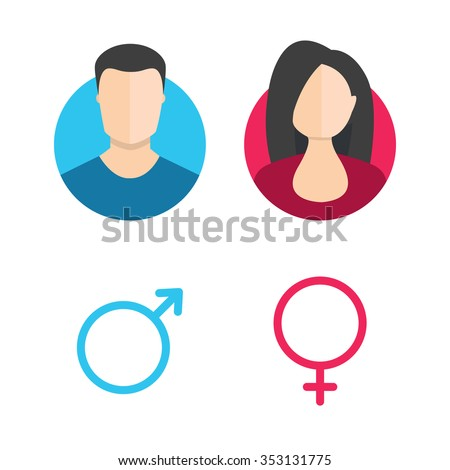Shutterstock Vector male and female icon set. Gentleman and lady toilet sign. Man and woman user avatar. Flat design style