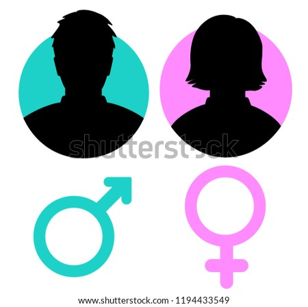 Vector male and female icon. Vector illustration. Stock. EPS10