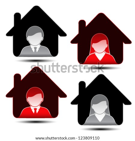 Vector male female avatar icons - human, user, member