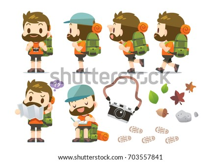 Vector male traveler, tourist character trekking, walking and do different actions with some nature objects isolated on white background.