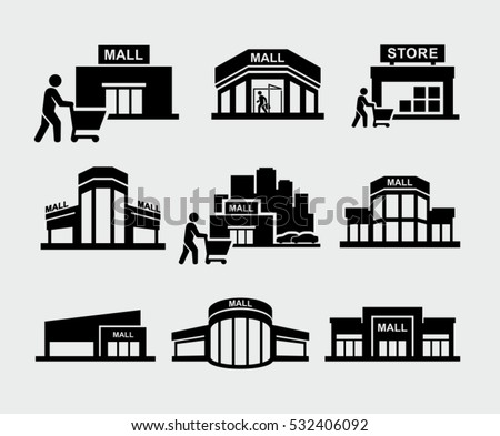 Vector mall building with shopper pushing shopping cart icons