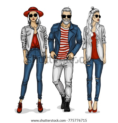 Vector man and two woman models
